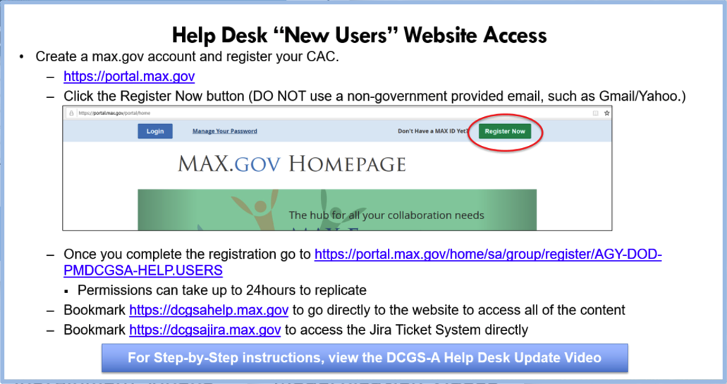 "Help Desk ""New Users"" Access Information"